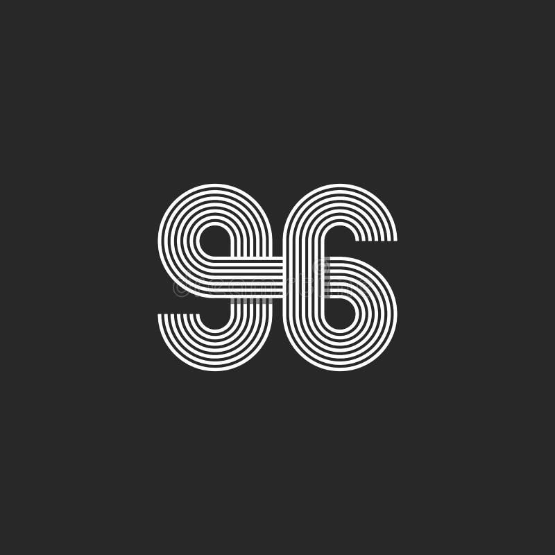 Dünne Linie Monogramm, modernes Modelldruckt-shirt des kreativen Ausgleichs des Zahllogos 96 lizenzfreie abbildung