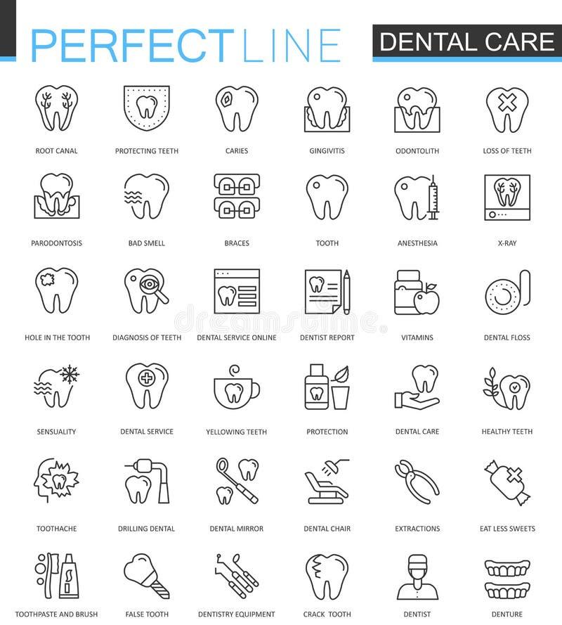 Dünne Linie Netzikonen des Zahnpflegen eingestellt Entwurfsanschlag-Ikonendesign lizenzfreie abbildung