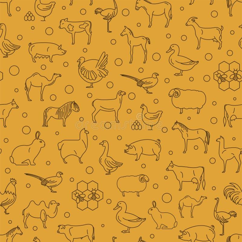 Dünne Linie Sammlung des Viehs Nahtloser Patten Flaches Design lizenzfreie abbildung