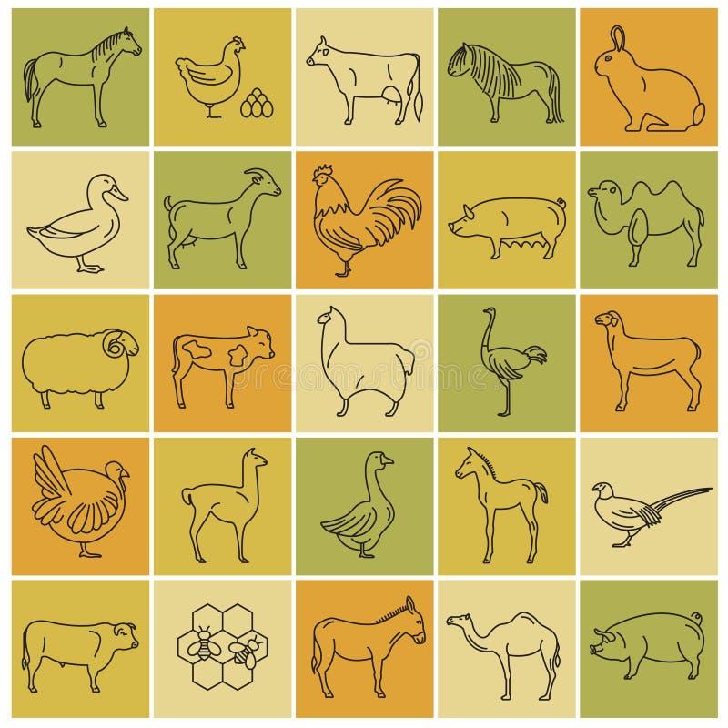 Dünne Linie Sammlung des Viehs Satz mit 25 Ikonen Flaches Design lizenzfreie abbildung