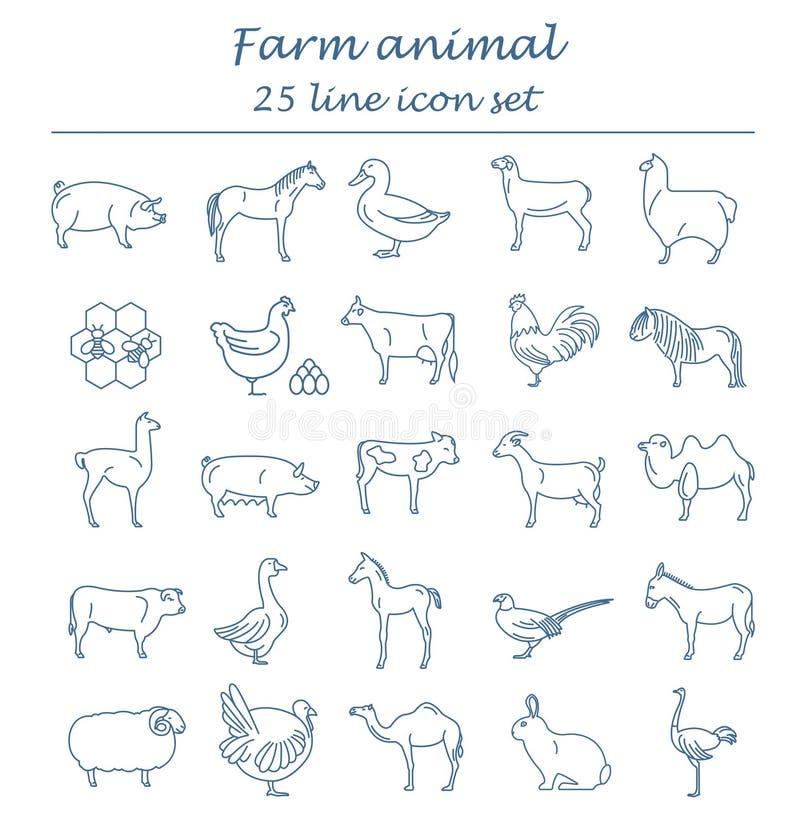 Dünne Linie Sammlung des Viehs Satz mit 25 Ikonen Flaches Design stock abbildung