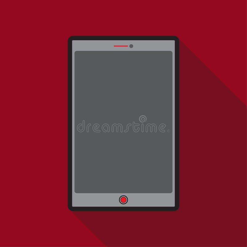 Dünne Linie Schatten-Rothintergrund des Tablets des Farbikonenschirmes langer vektor abbildung