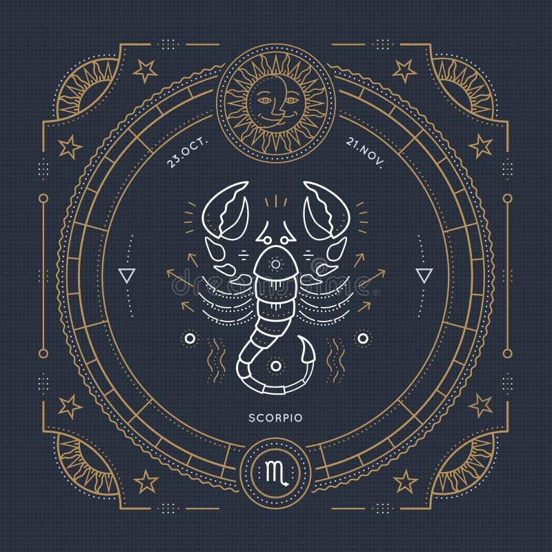 Dünne Linie Skorpionssternzeichenaufkleber der Weinlese Astrologisches Symbol des Retro- Vektors, Mystiker, heiliges Geometrieele lizenzfreie abbildung