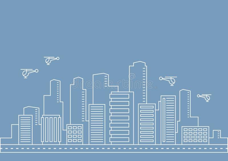 Dünne Linie Stadtillustrationskonzept des Vektors für irgendeinen Gebrauch stock abbildung