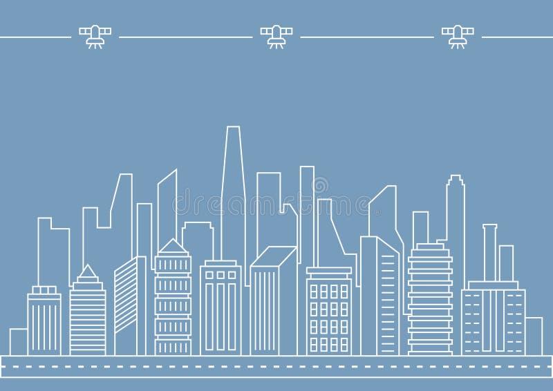 Dünne Linie Stadtillustrationskonzept des Vektors für irgendeinen Gebrauch vektor abbildung