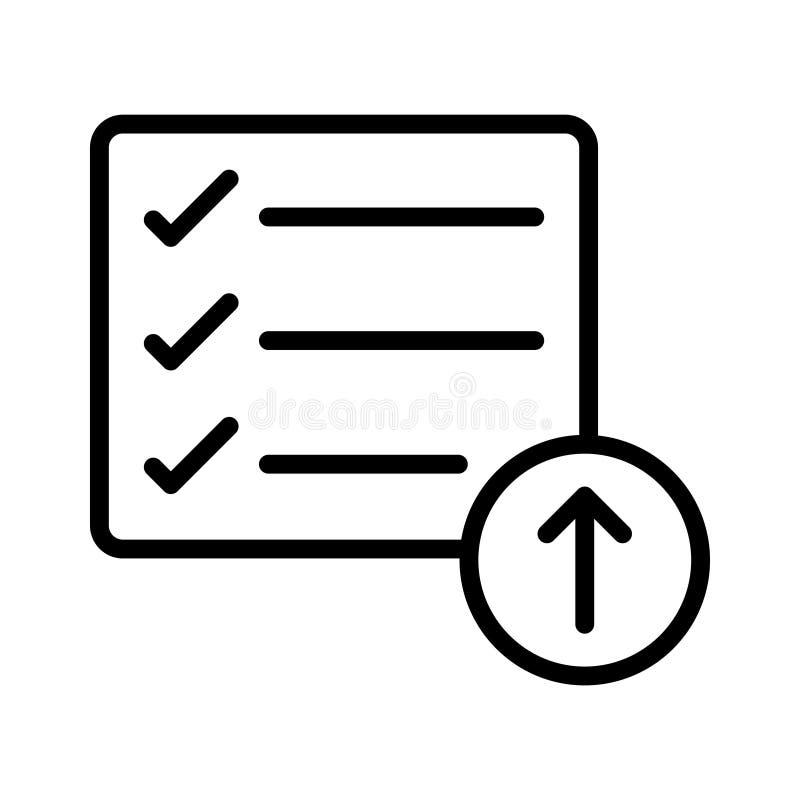 Dünne Linie Vektorikone der Antriebskraftcheckliste lizenzfreie abbildung
