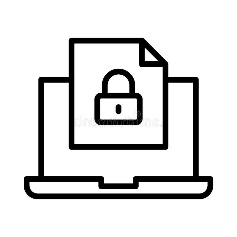 Dünne Linie Vektorikone der Dateien stock abbildung