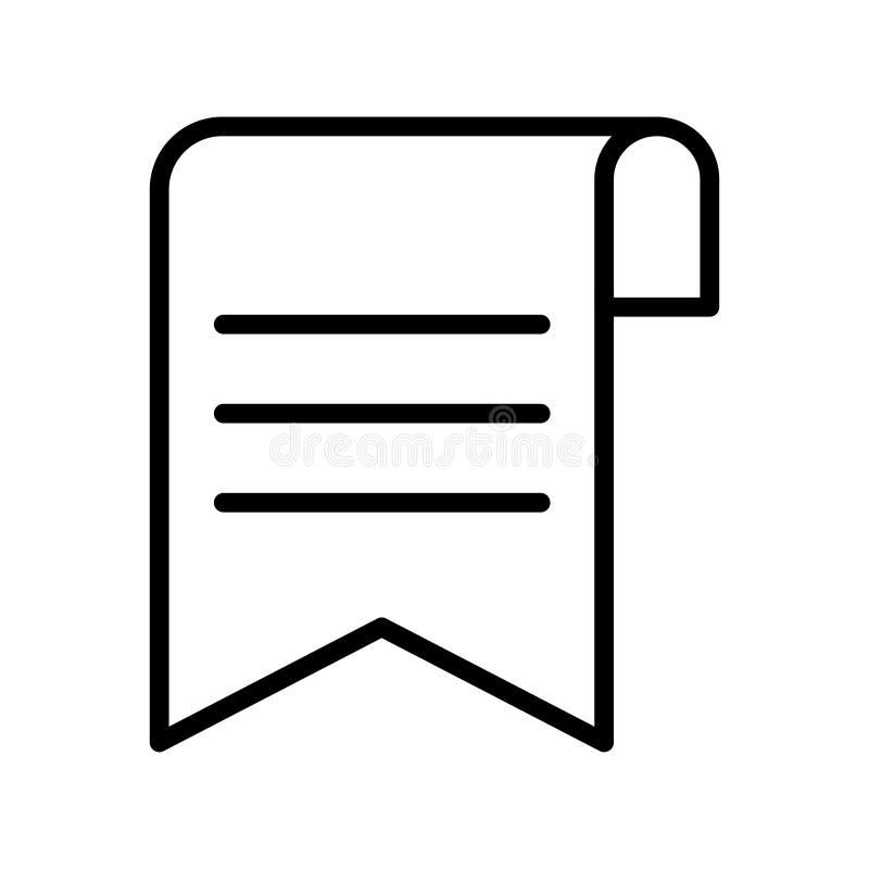 Dünne Linie Vektorikone des Bookmarkblattes lizenzfreie abbildung