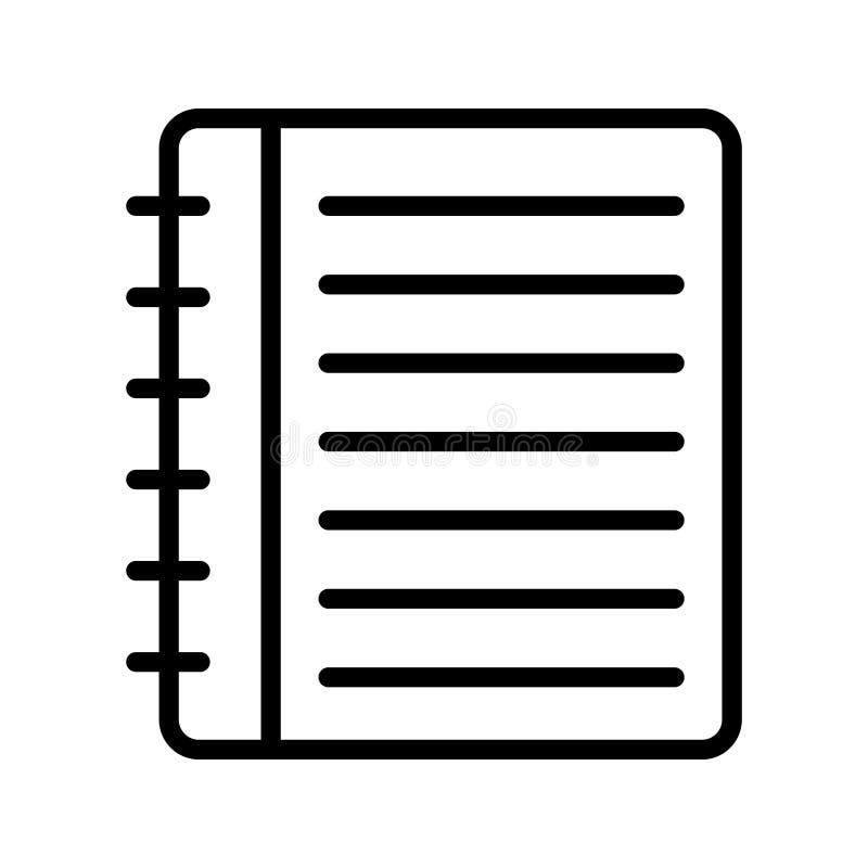 Dünne Linie Vektorikone des Notizblockes vektor abbildung