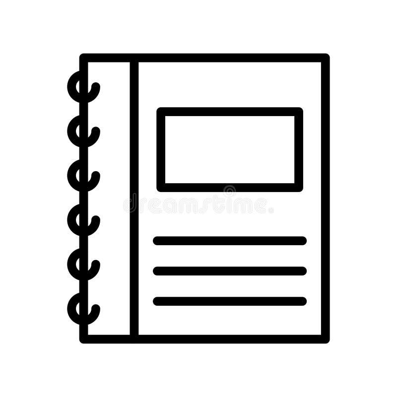Dünne Linie Vektorikone des Tagebuchs vektor abbildung