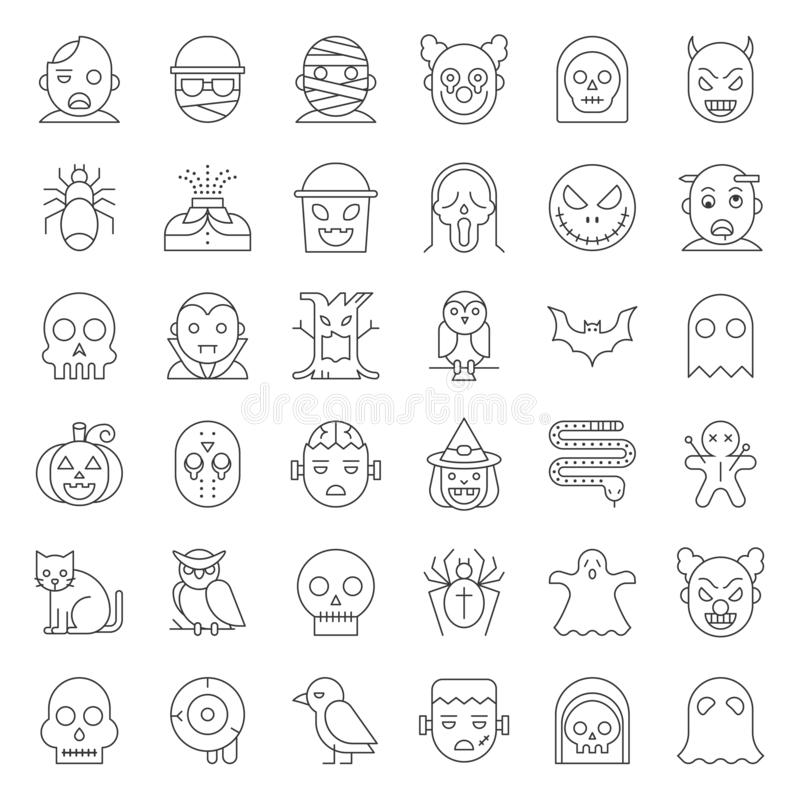 Dünne Linie Vektorikonensatz Halloween-Charakters vektor abbildung