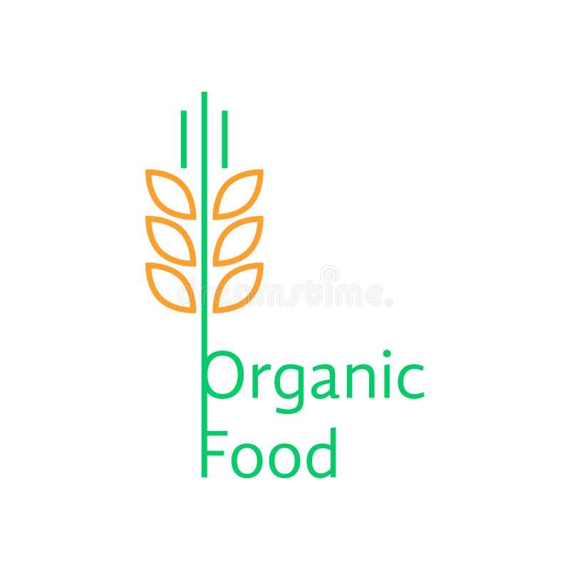 Dünne Linie Weizenähren mögen Logo des biologischen Lebensmittels lizenzfreie abbildung