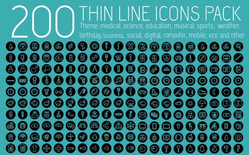 Dünne Linien gesetztes Konzept der Sammlung der Piktogrammikone lizenzfreie abbildung