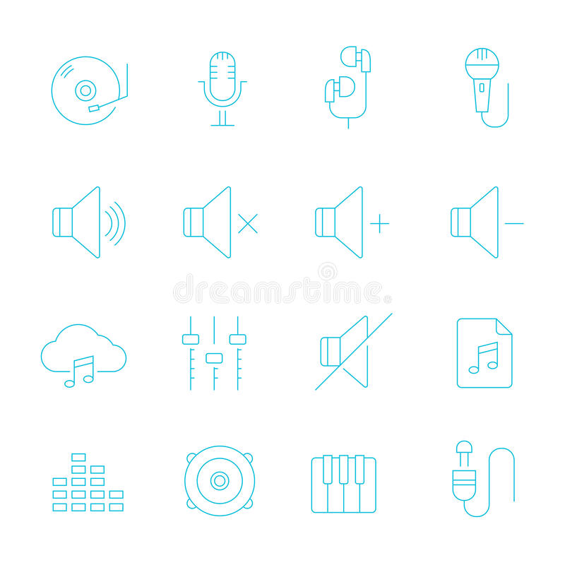 Dünne Linien Ikone eingestellt - Audio lizenzfreie abbildung
