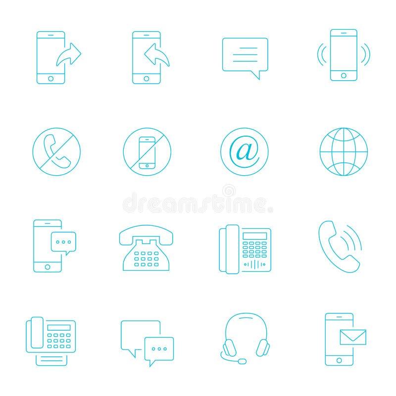 Dünne Linien Ikone eingestellt - Kommunikation vektor abbildung