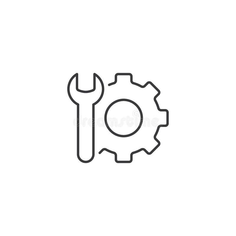 Dünne technische Stützikone auf weißem Hintergrund lizenzfreie abbildung