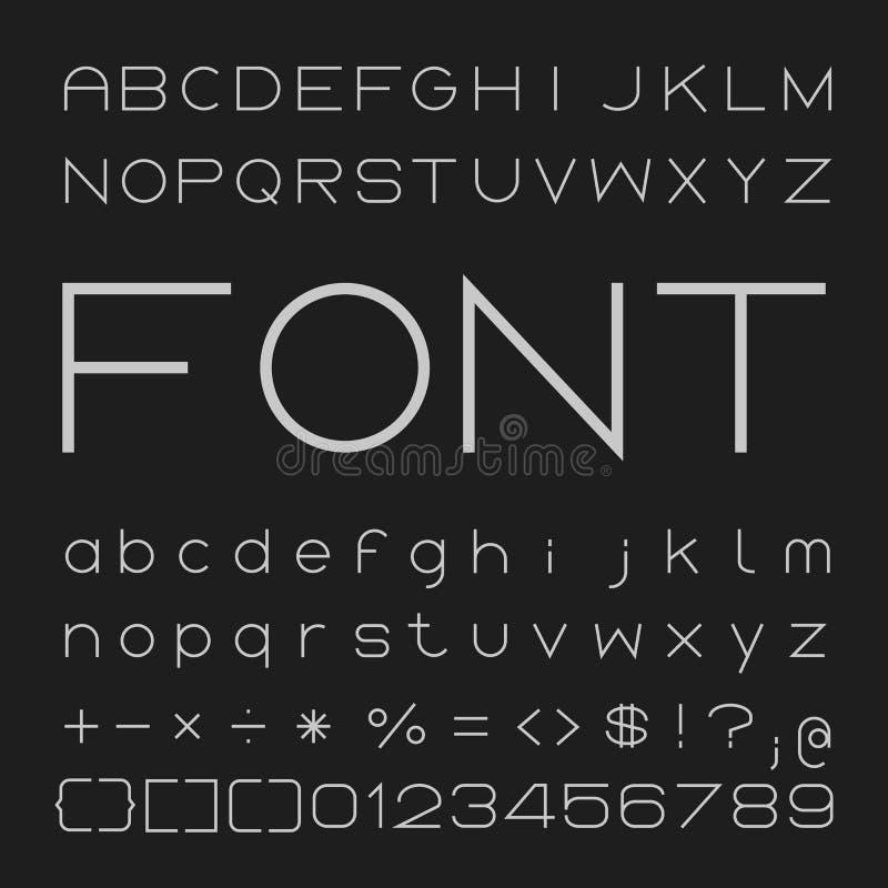 Dünner Guss Desgin, Alphabet und Zahl-Vektor lizenzfreie abbildung