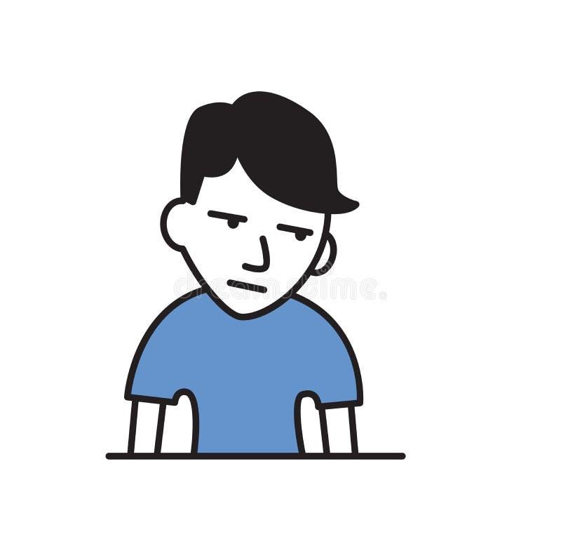Dünner Kerl, der Gewicht verlor Kranker junger Mann unglücklich mit seiner Zustand Karikaturdesignikone Flache Vektorillustration stock abbildung