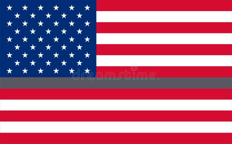 Dünnes Grey Line Flag für Korrektur-Offiziere Unterstützung für Korrektur-Mittel-Flagge Korrektur-Offizierbeantworter Flaggen des lizenzfreie abbildung