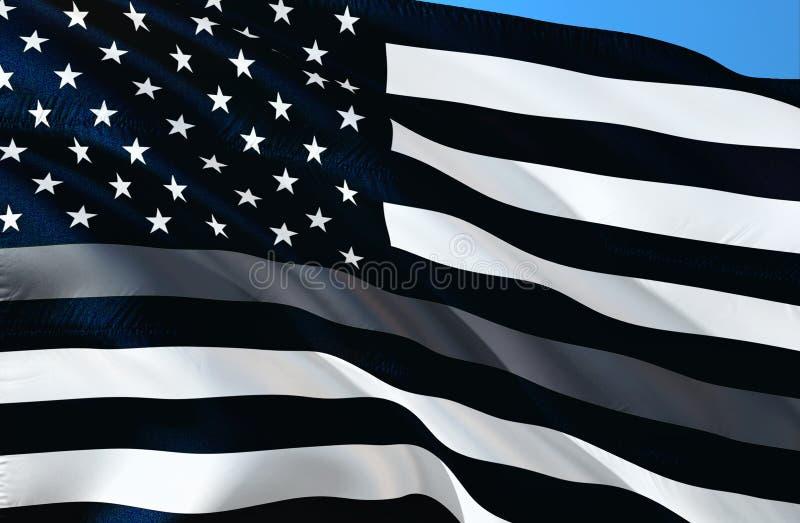 Dünnes Grey Line Flag für Korrektur-Offiziere Unterstützung für Korrektur-Mittel-Flagge Korrektur-Offizierbeantworter Flaggen des stock abbildung