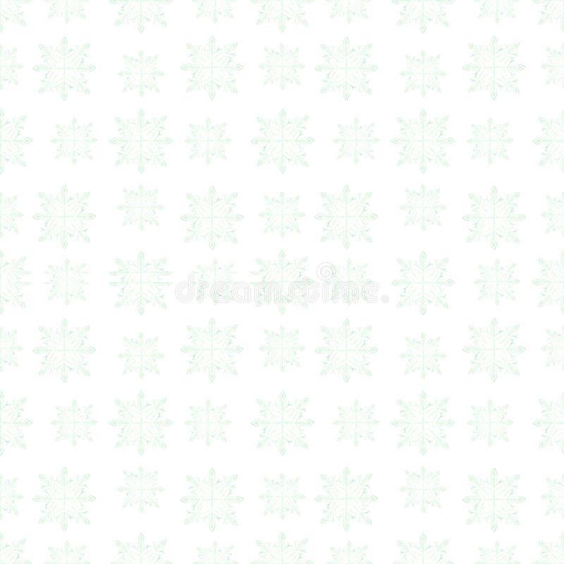 Dünnes hellblaues nahtloses Muster des hellen Aquarells auf einem weißen Hintergrund von kleinen eisigen Winterschneeflockenschat lizenzfreies stockbild