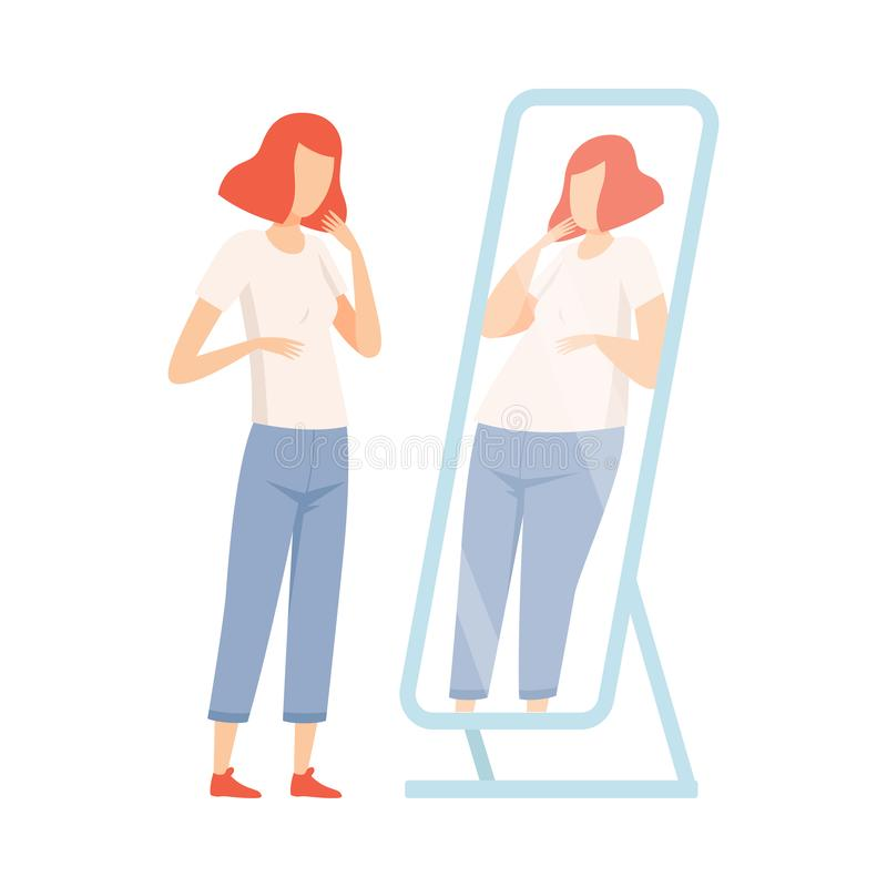 Dünnes jugendlich Mädchen, das fett im Spiegel, Jugendlich-Pubertäts-Problem-Vektor-Illustration sich sieht stock abbildung