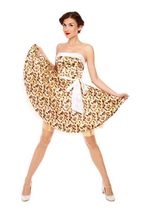 Dünnes Mädchen im Kleid stockfoto