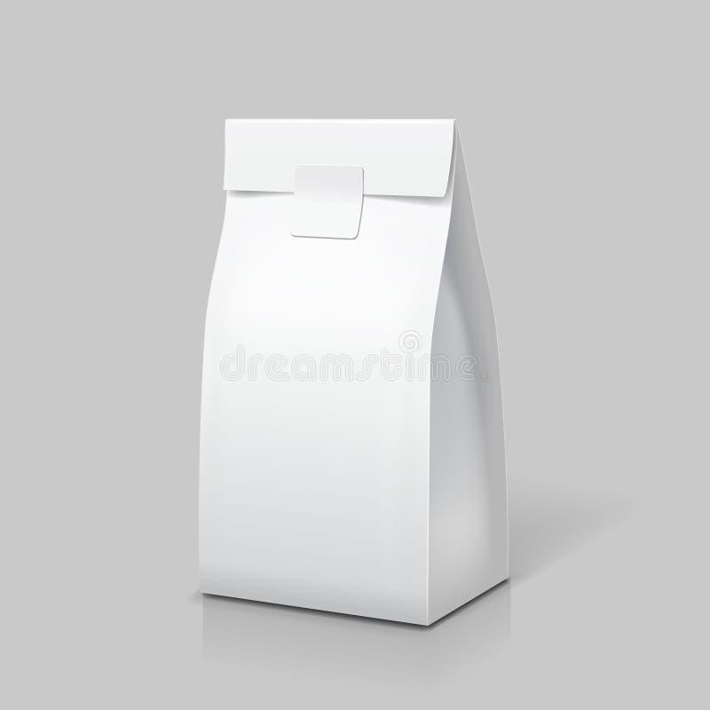 Dünnes Papiertütepaket Weißer leerer Satz für Lebensmittel, Tee, Kaffee oder Snack Vektor lizenzfreie abbildung