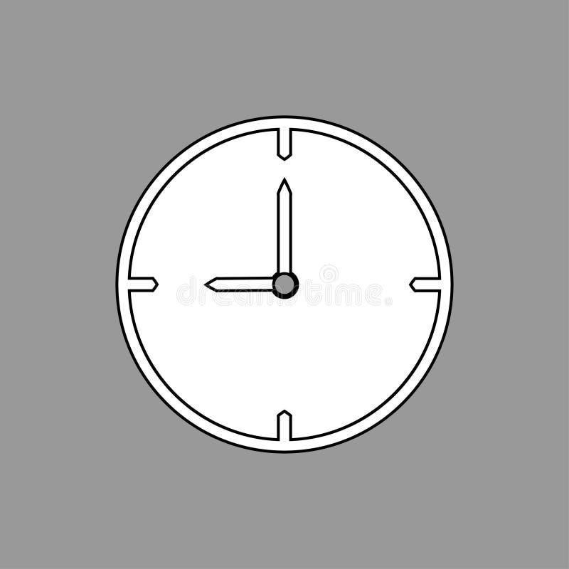 Dünnes Schwarzweiss- Streckentaktikone 9 Uhr auf grauem Hintergrund - Vektorillustration lizenzfreie abbildung
