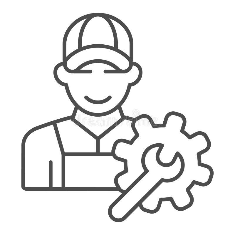 Dünnliniensymbol für Elektroingenieure Weiß isolierte Vektorgrafik von Arbeitskräften Handwerker-Design vektor abbildung