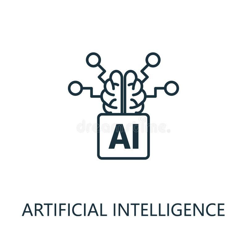 Dünnliniensymbol für künstliche Intelligenz Kreatives einfaches Design aus der Sammlung künstlicher Intelligenz-Symbole Grundlini stock abbildung