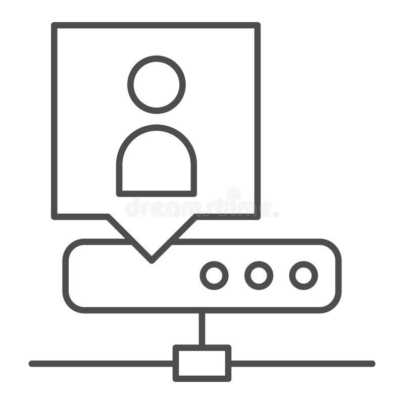 Dünnzeilensymbol für Netzwerkadministratoren Weiß isolierte Vektorgrafik des Serveradministrators Übersicht über Netzwerkadminist lizenzfreie abbildung