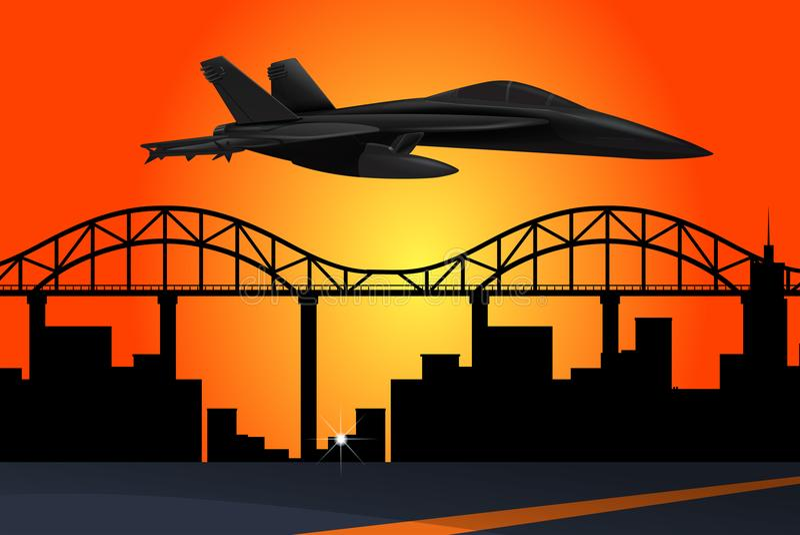 Düsenflugzeug, das über die Stadt bei Sonnenuntergang fliegt stock abbildung