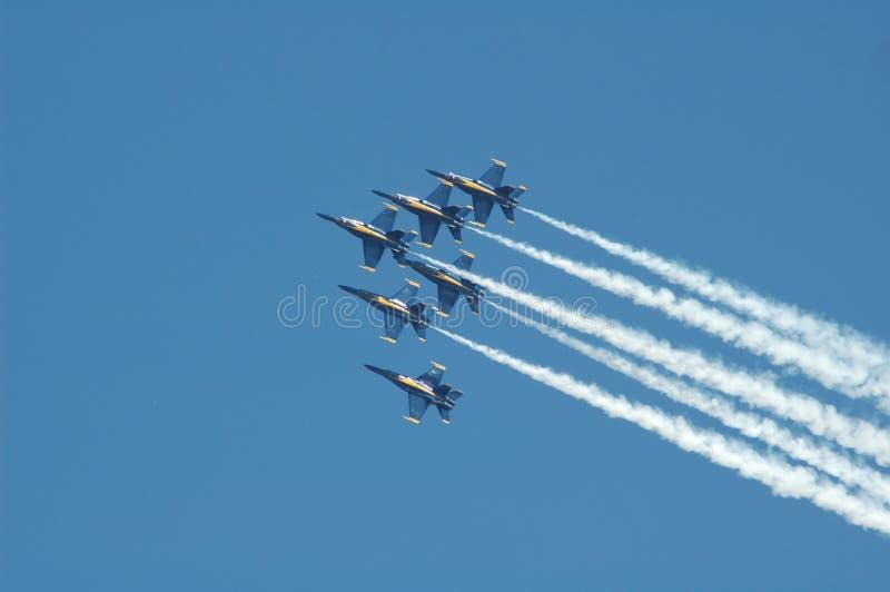 Düsenflugzeuge an einer Flugschau.   stockfoto