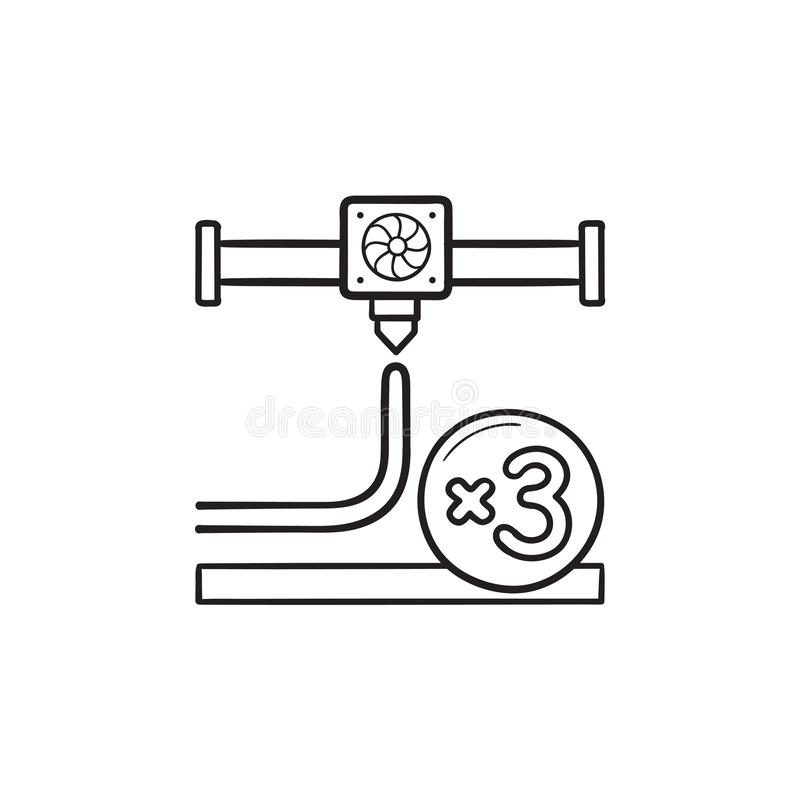 Düsenhandgezogene Entwurfs-Gekritzelikone des Drucken 3D stock abbildung