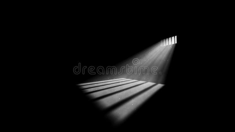 Düsteres Gefängnis-Fenster-Licht lizenzfreie abbildung