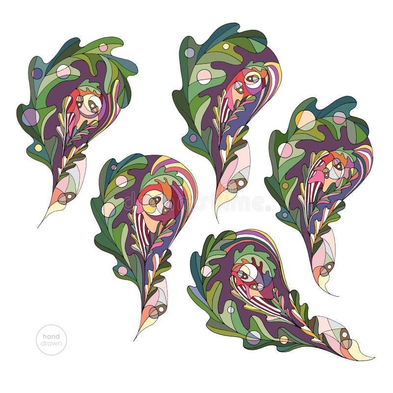 Dąb opuszcza wektoru set Ręka rysująca abstrakcjonistyczna jesieni Paisley kolekcja Liścia projekta elementy w nowożytnym stylu ilustracja wektor