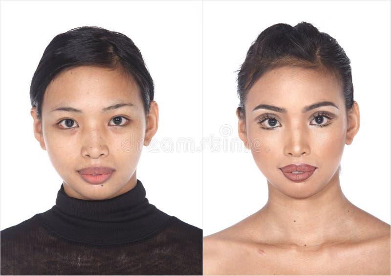 Dębnej skóry Azjatycka kobieta przed uzupełniał żadny retusz, świeża twarz z fotografia stock