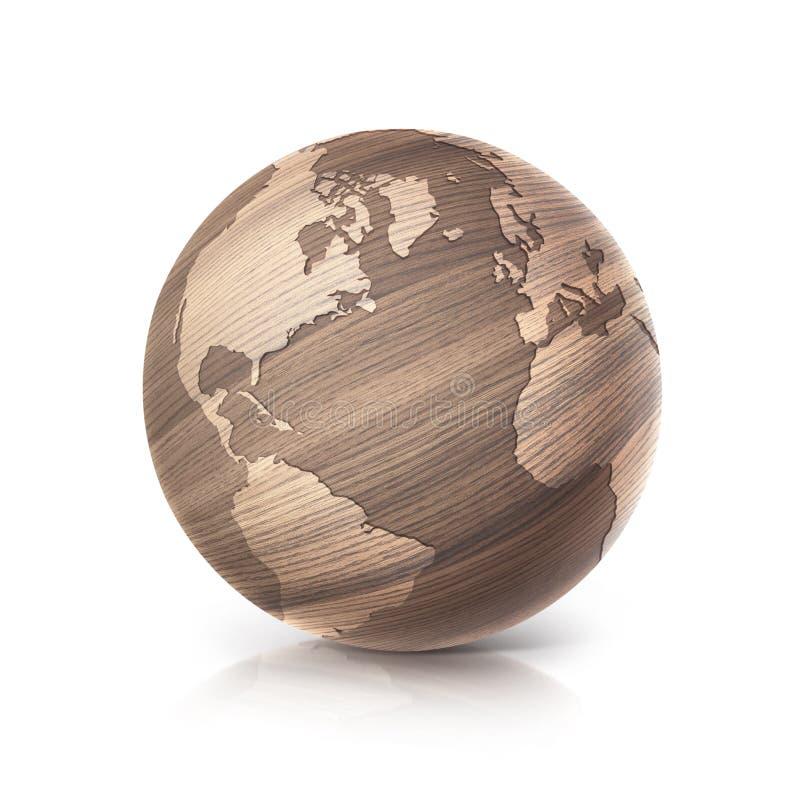 Dębowa drewno kuli ziemskiej 3D północ i południe America ilustracyjna mapa ilustracja wektor