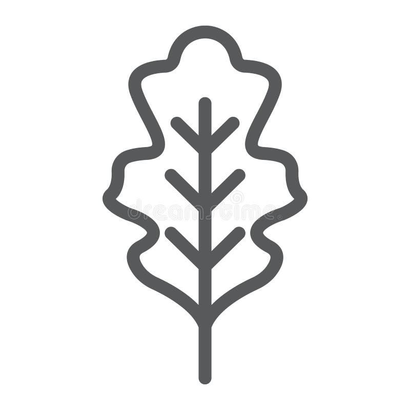 Dębowa liść linii ikona, natura i botanika, ulistnienie znak, wektorowe grafika, liniowy wzór na białym tle ilustracji