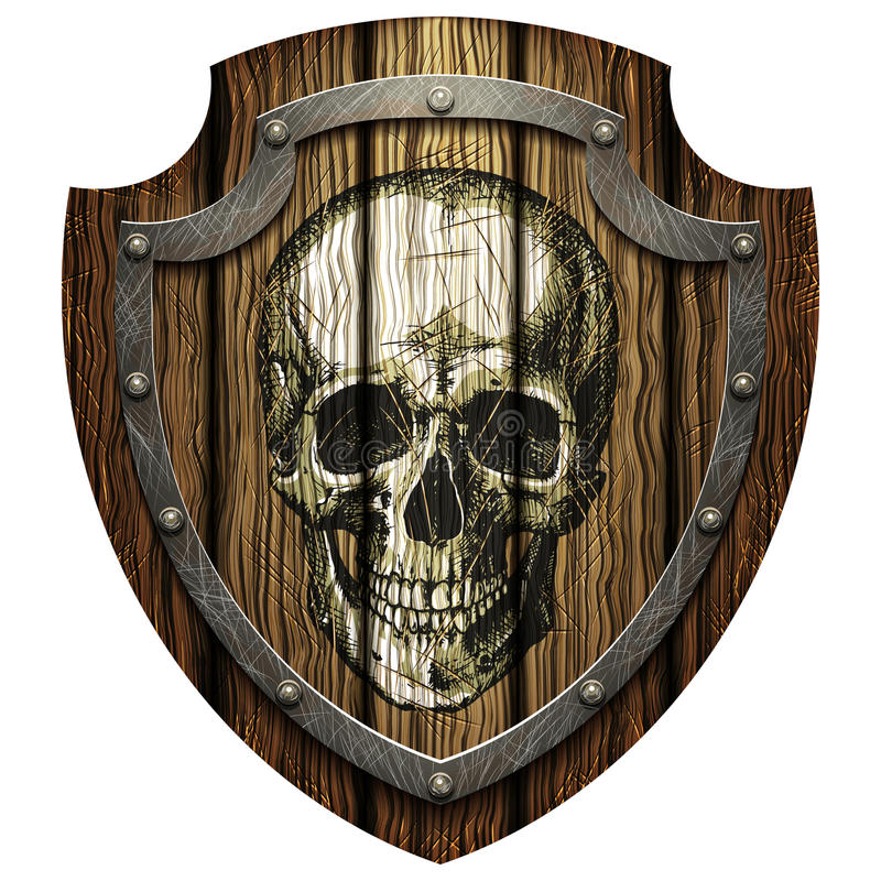 Dębowa osłona z czaszki i metalu stadninami ilustracja wektor
