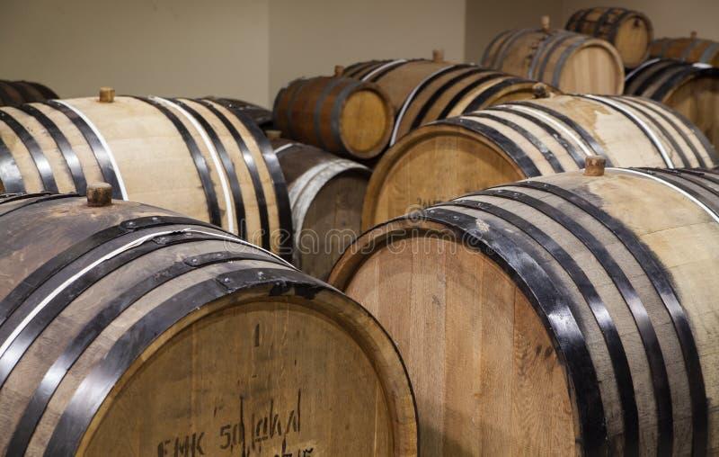 Dębowe wino baryłki obrazy royalty free