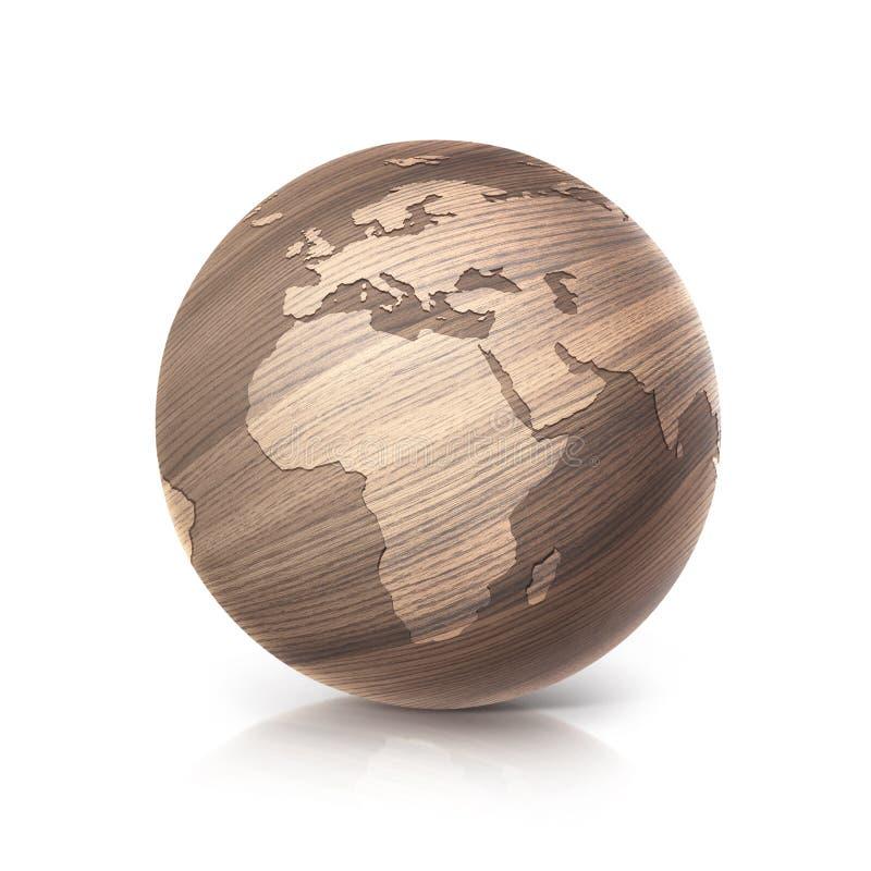 Dębowego drewna kula ziemska 3D Europe i Africa ilustracyjna mapa ilustracja wektor