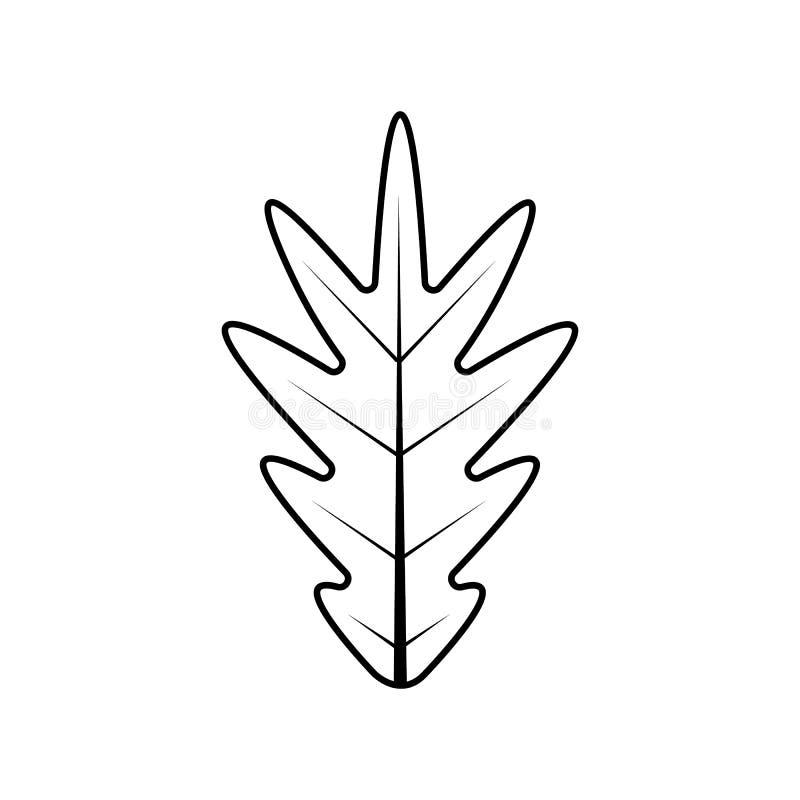 Dębowego liścia wektorowa ilustracyjna ikona w czarnym prostym projekcie royalty ilustracja