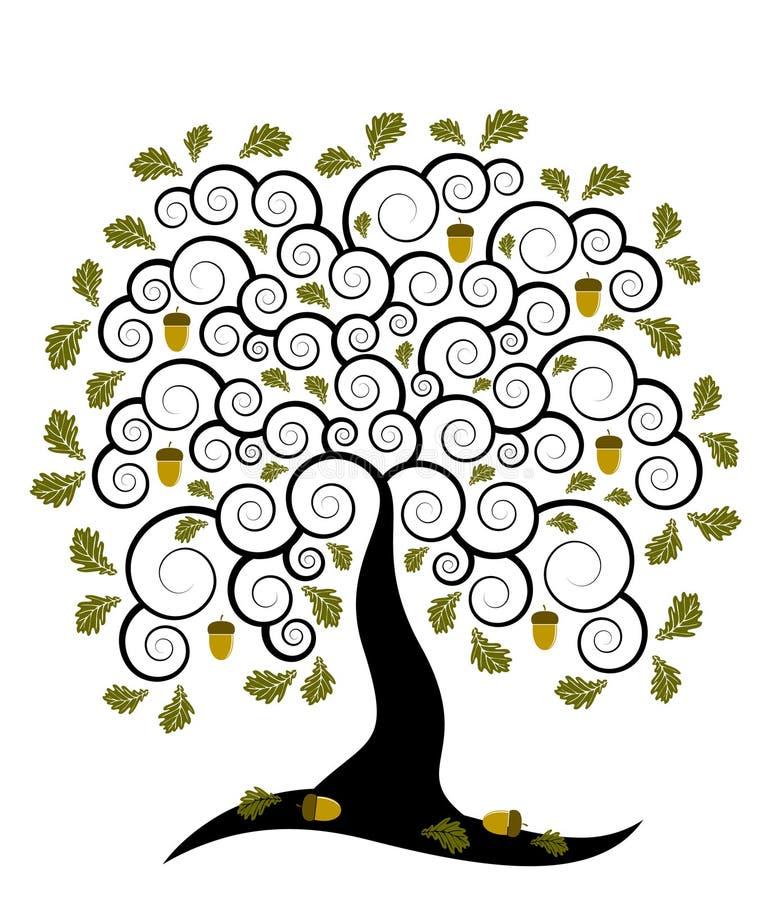 dębowy drzewo ilustracja wektor