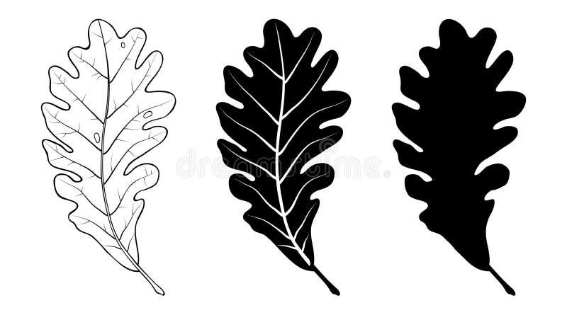 Dębowy liść Liniowy i sylwetko również zwrócić corel ilustracji wektora ilustracji