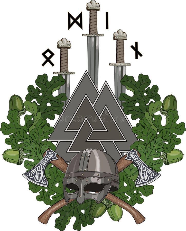 Dębowy wianek, Viking hełm i dwa, krzyżowaliśmy barty, trzy kordzika Wikingowie i Walknut z runes, ilustracja wektor