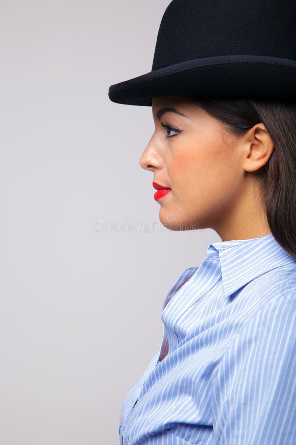 dęciaka bizneswomanu kapeluszowy target1379_0_ zdjęcia royalty free