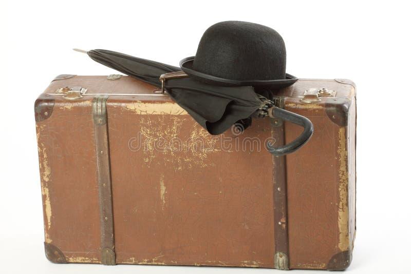dęciaka kapeluszu stary walizki parasol obraz stock