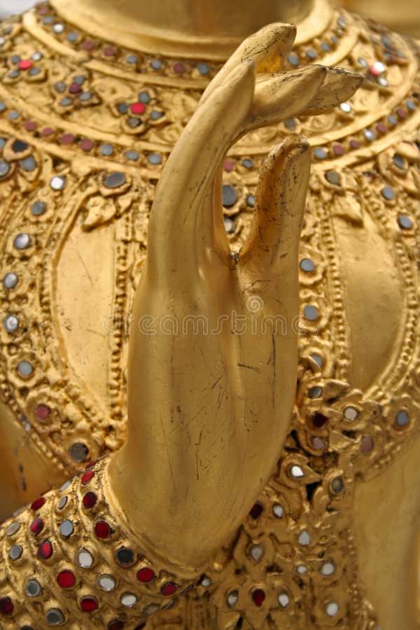 dłonie złoty kinaree bangkoku kawałków pałacu zdjęcie royalty free